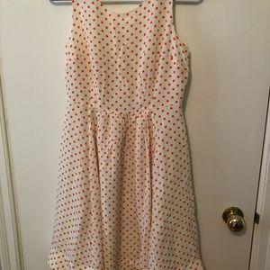 Anthropologie orange and white polka dot dress